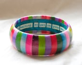Flowers & Rain Decoupage Striped Bangle - Standard Etsy Size - S/M - Free Custom Lettering - Other Sizes Available