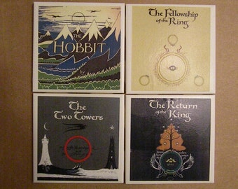 Set of FOUR Tolkein/Lord of the Rings/Hobbit Coasters