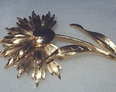 Reserved Trifari Brooch Gold Tone Vintage Metal Flower Pin Chrysanthemums or Daisy Womans Costume Jewelry Holiday Gift