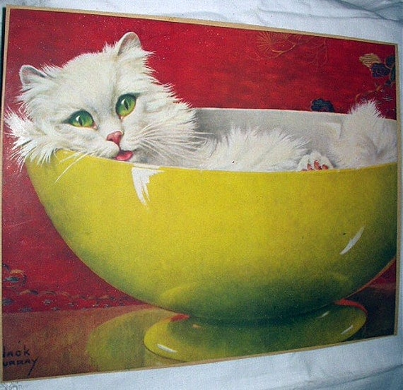 White Persian Cat Green Eyes Yellow Pottery by ...
