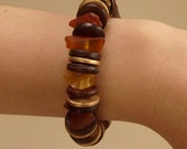 Bracelet with Baltic Amber and Wood beads, Handmade