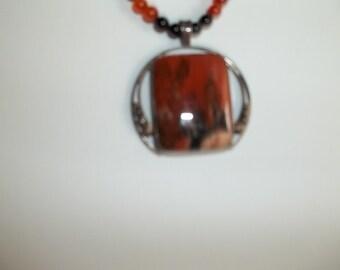 SALE!  Petrified wood pendant, bead cord necklace