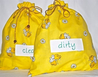 Yellow travel lingerie bags