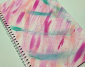 Original Abstract Painting on Notebook - Magenta, Pink, Light Pink and Aqua Green