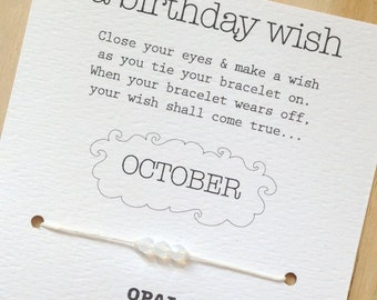 OCTOBER - Birthday Wish Bracelet - Opal - Waxed Irish Linen - Choose Your Own Color