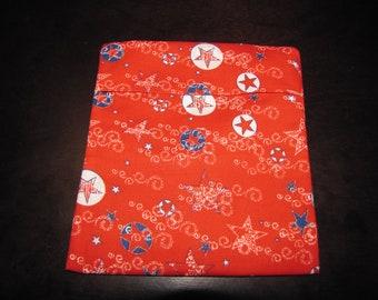 Reusable sandwich bag or snack bag - large - RED STARS