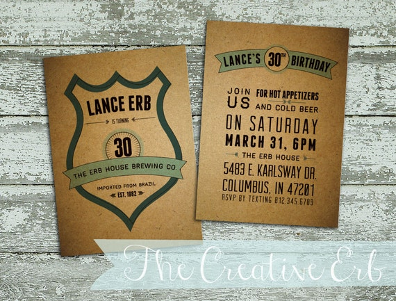 Masculine Party Invitations