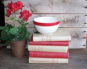 vintage red book collection bundle display for home decor photo props shabby cottage antique
