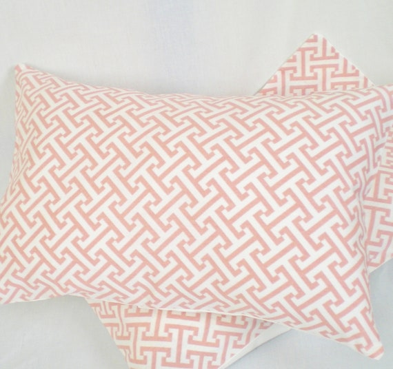 LAST ONE . Pink Fretwork Pillow Cover . 12 x 16 or 12 x 18 or 12 x 20 inch . Pink . White . Pillow Cushion . Pillow Sham