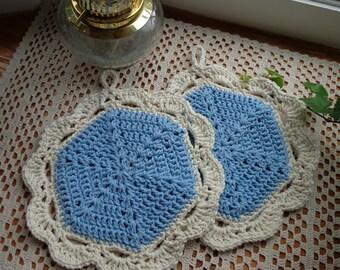Cornflower Blue and Ecru Potholders/Trivets