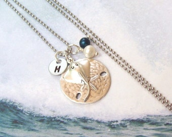 Sand Dollar Necklace, Stingray Necklace, Tropical Necklace, Personalized Necklace, stainless steel, hypo allergenic, stamped, pearl, summer