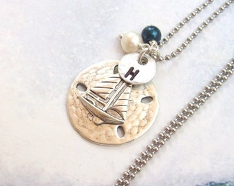 Silver Sailboat Necklace, Sand Dollar Necklace, Tropical Necklace, Personalized Necklace, stainless steel, hypo allergenic, stamped, summer