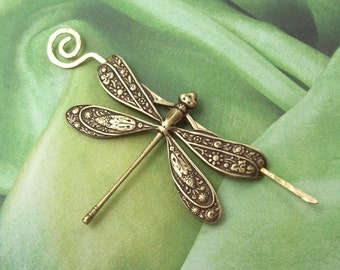 Dragonfly Shawl Pin, Dragonfly Scarf Pin, Brass Shawl Pin, sweater pin, hair slide, bug, red brass