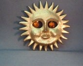 Vintage 1970s Sun Brooch Pendant with Gemstone Eyes