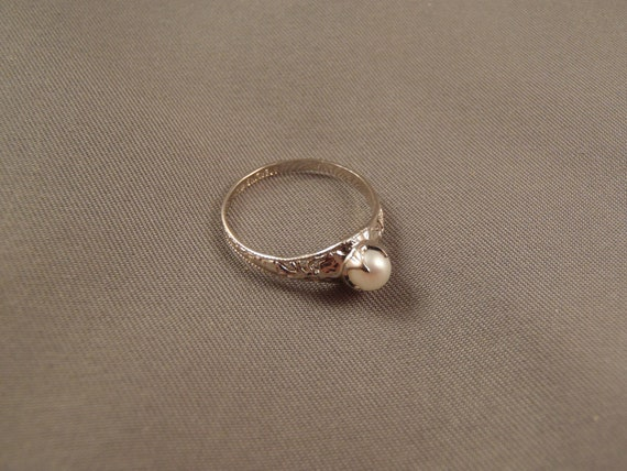 Vintage Clark & Coombs Sterling Silver / Cultured Pearl Ring - Sz 6.5