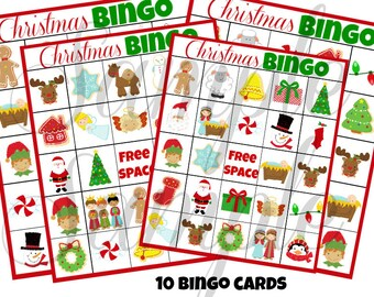 INSTANT DOWNLOAD Christmas BINGO Holiday 3 in 1 Games Printable Download - Fun Family Party diy Memory Old Maid