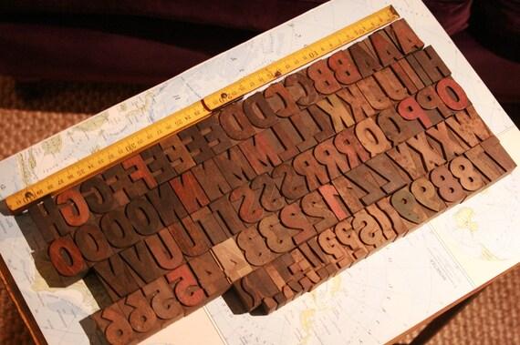 "BEAUTIFUL LETTERPRESS type wood - 1.41"" (36 mm) sans serif alphabet - 93 pcs"
