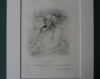 Original 1940s Print Of William Makepeace Thackery - Antique - Picture - Plate - Sepia - Mounted - Matted - Portrait