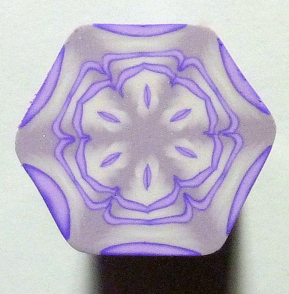 Lavender and Silver Hexagon Polymer Clay Cane