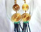 Double Golden Spiral Earrings
