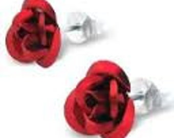 Aluminum Rose Post Earrings, available in Silver or Goldplated posts