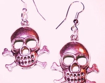 Skull and Crossbones Earrings In Your Choice Of Available Colors