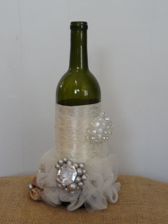 Items similar to wine bottle wedding centerpiece on etsy for Wine bottle ideas for weddings