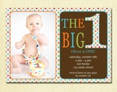 First Birthday Baby Boy Invitation - DIY Photo Printable Custom Invite - Rainbow Polka Dots - 1 year old - 1st Birthday