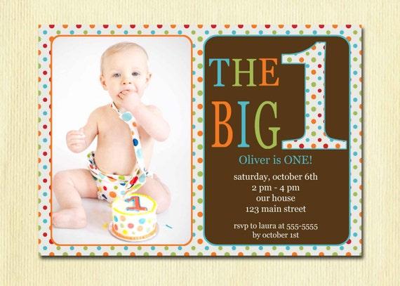 1 Year Baby Birthday Invitation Quotes: First Birthday Baby Boy Invitation DIY Photo Printable