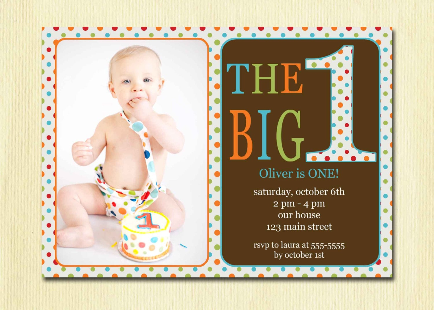 First Birthday Baby Boy Invitation DIY Photo Printable – 1st Birthday Greetings for Baby Boy