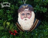 Coventry Santa in Blue with Gold Holly in Hat Christmas Ornament