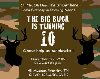 Deer hunting camo party invitation