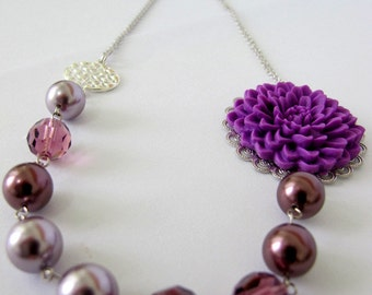 SALE - Necklace Blooming Purple. Swarovski pearls and crystal with flower