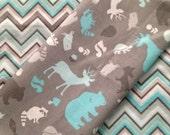 "Newborn Large Cotton Flannel Baby Blanket in ""Chevron Woods"", aqua chevron, gray, bears"