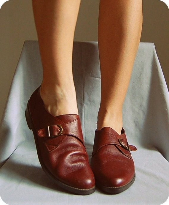 The Chestnut Brown Oxford Boots vintage 1990s supple leather buckle shoes 10