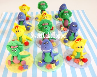 Barney and Friends Inspired Cake/Cupcake Topper - Fondant Cake and Cupcake Topper - 12 Pcs