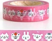 1 Roll 10m WASHI TAPE - Bright Pink. Cute Animals. Cat. Bear. Rabbit. DIY. Gift wrapping. Scrapbooking. Pattern