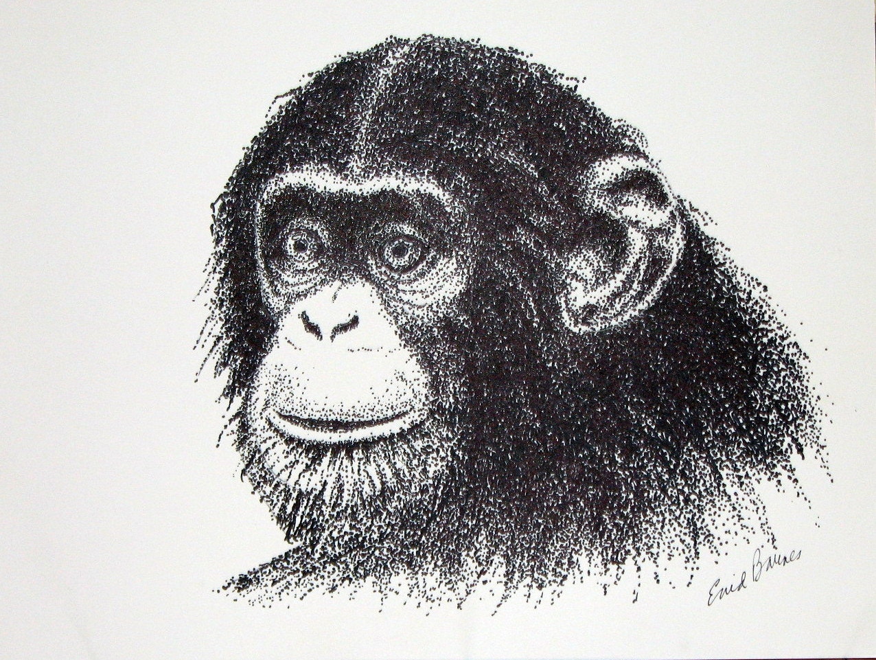 Chimpanzee Original Pointillism Drawing