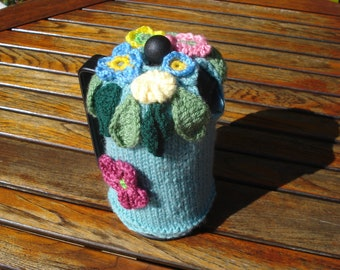 Flower explosion cafetiere cosy