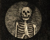 Skeleton etching giclee print with free shipping