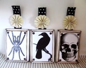 """Witch's Parlor Set of 3 Vintage Inspired Solid Wood Plaque Wall Decor Pieces size 5""""x7"""""""