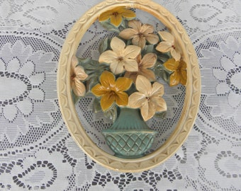 Chalkware Cutout Floral Bouquet with Vase