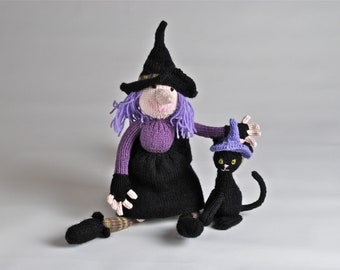 Handmade knitted plush Witch and Cat made to order and customizable