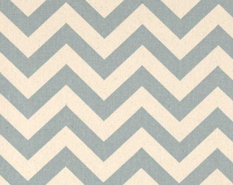 Village Blue and Natural Chevron ZigZag Premier Prints Fabric - One Yard - Home Dec Fabric