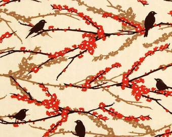Aviary 2 Sparrows Bark Cream - One Yard - Joel Dewberry Fabric