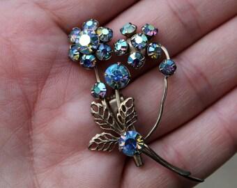 Vintage Costume Aurora Borealis Flower Brooch- Blueish Purple and Goldtone
