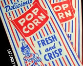 POPCORN BAGS--(25) Retro Vintage Popcorn Bags Favor: Circus Party, Carnival Party, Baseball Party, Movie Night, Slumber Party, Scrapbooking
