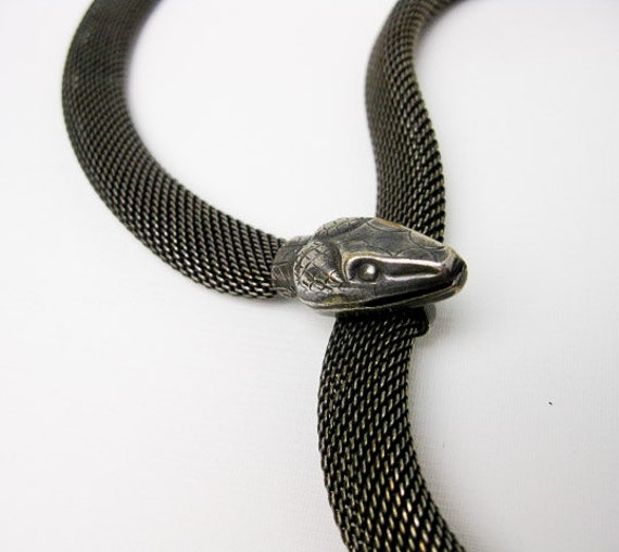 Sterling Silver Mesh Snake Necklace or Belt, 1920s French, Hallmarked.