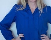 Blue front pleated womens blouse