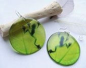 Resin Transparent Green Earrings with Frog on green Leaf Shadow of the Frog on leaf Epoxy Jewelry Craft Gift for Her Dangle Earrings